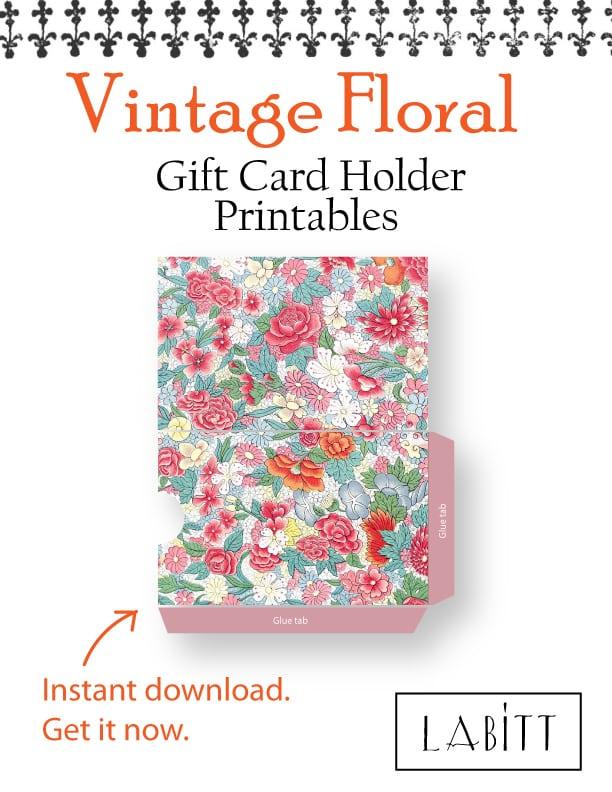Oriental - Vintage Style Floral Design Gift Card Holder Printables
