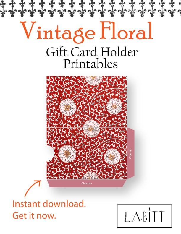 Red - Vintage Style Floral Design Gift Card Holder Printables