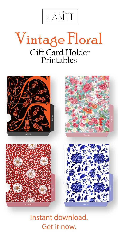 Cool Vintage Style Floral Design Gift Card Holder Printables | DIY gift ideas for best friend