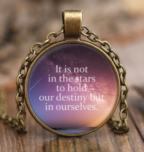 gifts for tween girls Meaningful pendant necklace with Shakespeare quote on destiny and life