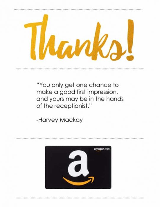 Receptionist Appreciation Amazon Gift Card Presentation Ideas - Free Printables - Keepsake