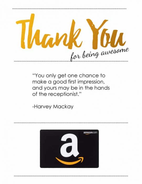 Receptionist Appreciation Amazon Gift Card Presentation Idea - Free Printables
