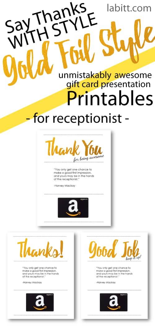 Receptionist Appreciation Day Gift Ideas - Amazon Gift Card Presentation Idea - Free Keepsake Printables