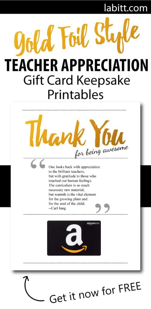 DIY Handmade End of Year Teacher Gift   Teacher Appreciation Week Amazon Gift Card Presentation Ideas   Printables