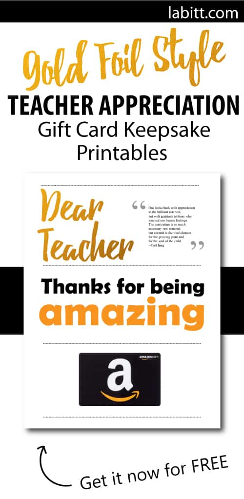Teacher Appreciation Week DIY gifts to make from students   Gift Card Presentation Ideas   Printables for teachers