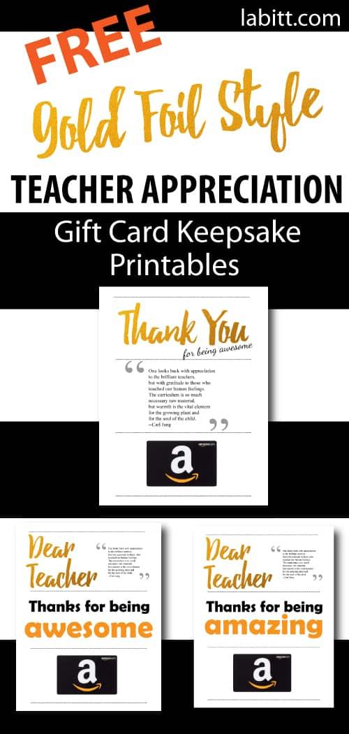 End of Year Teacher Gift   Teacher Appreciation Week Gift Card Presentation Ideas   Free Printables