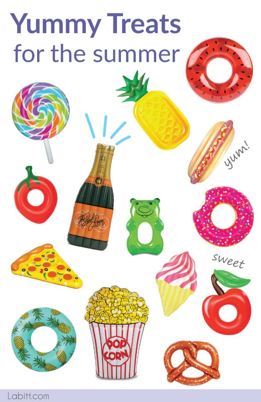 Giant Inflatable Pool Floats For Adults. Fruits, Snacks, Sweet Treats, Food and Drinks.