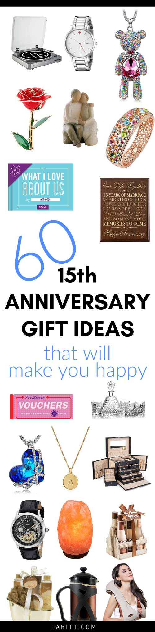 15th Year Wedding Anniversary Gift Ideas for Husband and Wife. Crystal and Sentimental Gifts for Him and for Her.