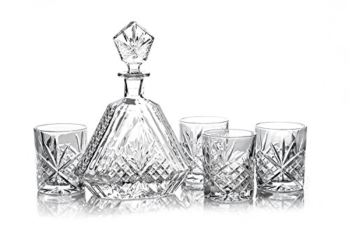 James Scott 5 PC Crystal Bar Set. 15 Year Wedding Anniversary Gift Ideas for Husband and Wife. Gifts for Him and for Her.