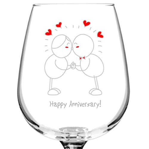 Happy Anniversary Wine Glass. 15 Year Wedding Anniversary Gift Ideas for Him and for Her. Gifts For Husband and Wife. For Parents.