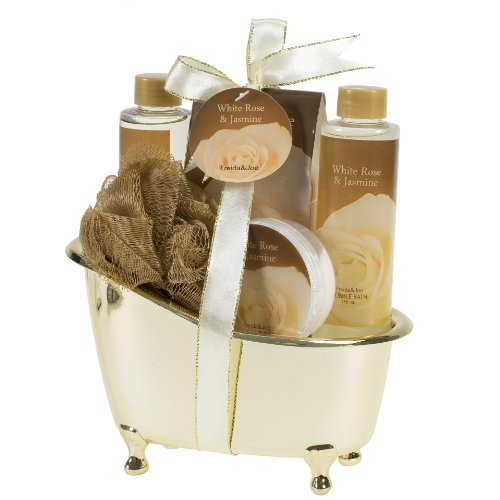 White Rose & Jasmine Bath Set. 15 Year Wedding Anniversary Gift Ideas for Her, for Wife. Women Gifts.