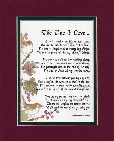 The One I Love Poem for Husband and Wife. 15th Wedding Anniversary Gift Ideas for Him and for Her. Gifts For Husband and Wife.