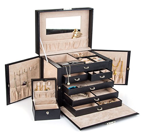 Black Leather Jewelry Box. 15th Wedding Anniversary Gift Ideas for Her, for Wife. Women Gifts.