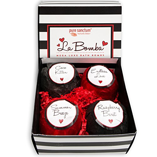 Pure Sanctum La Bomba Luxury Bath Bomb Gift Set. 15th Wedding Anniversary Gift Ideas for Her, for Wife. Women Gifts.
