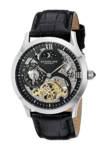 Stuhrling Original Men's Autmatic Watch. Black Leather. Chronograph. Self-winding. 15 Year Wedding Anniversary Gift Ideas for Him, for Husband. Men Gifts for Guys.