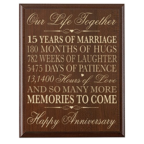 15th Wedding Anniversary Plaque15th Wedding Anniversary Gift Ideas for Husband and Wife. Gifts for Him and for Her. Parent Gift.