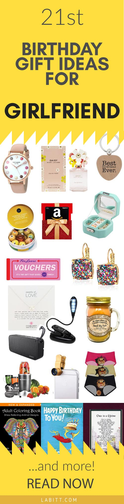 Cool 21st Birthday Gift Ideas for Girlfriend. Birthday Gifts for her, for women, for friends. Happy Birthday!