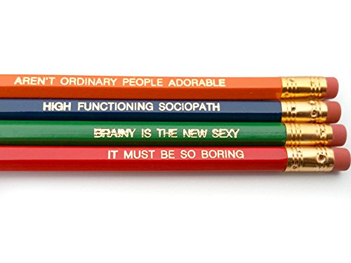 BBC Sherlock Holmes Quotes Pencil Set - Orange, Navy Blue, Green, Red