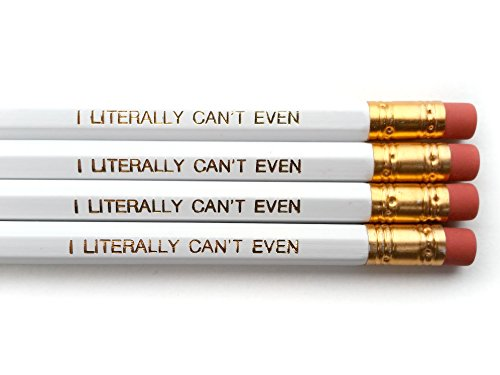 I Literally Can't Even Pencil Set - White / Gold