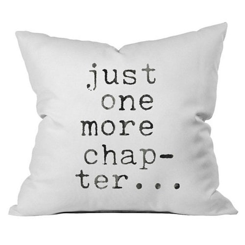 Just One More Chapter Throw Pillow (Dorm room ideas for girls college)