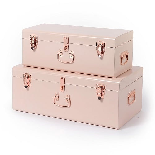 Pink Storage Trunk Set perfect for college students. Dorm Room Organization Ideas.