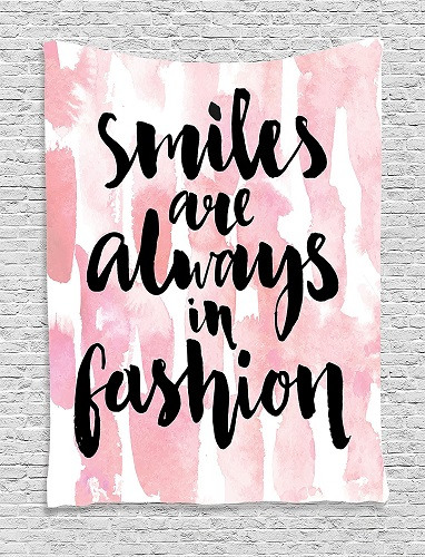 """""""Smiles are Always in Fashion"""" Hanging Tapestry. Inspirational quote wall decor. Dorm Room Decor"""