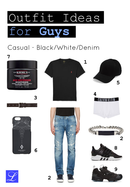 Cool back to school outfit idea #1. Black-white-denim. Casual.