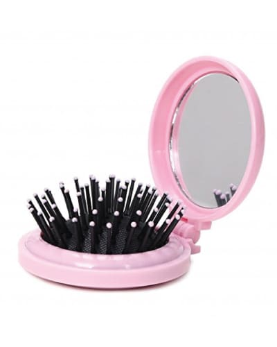 Folding Travel Hair Brush with Mirror (Back to school backpack essentials)