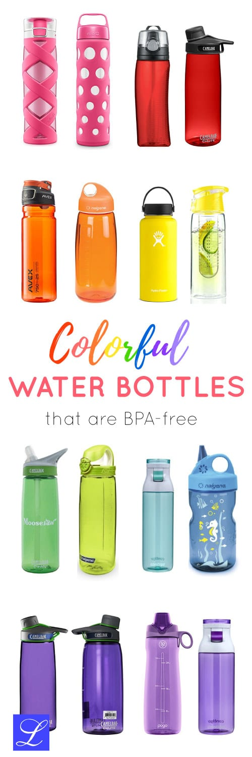Cool colorful water bottles that are BPA-free. Back to school supplies - essentials.