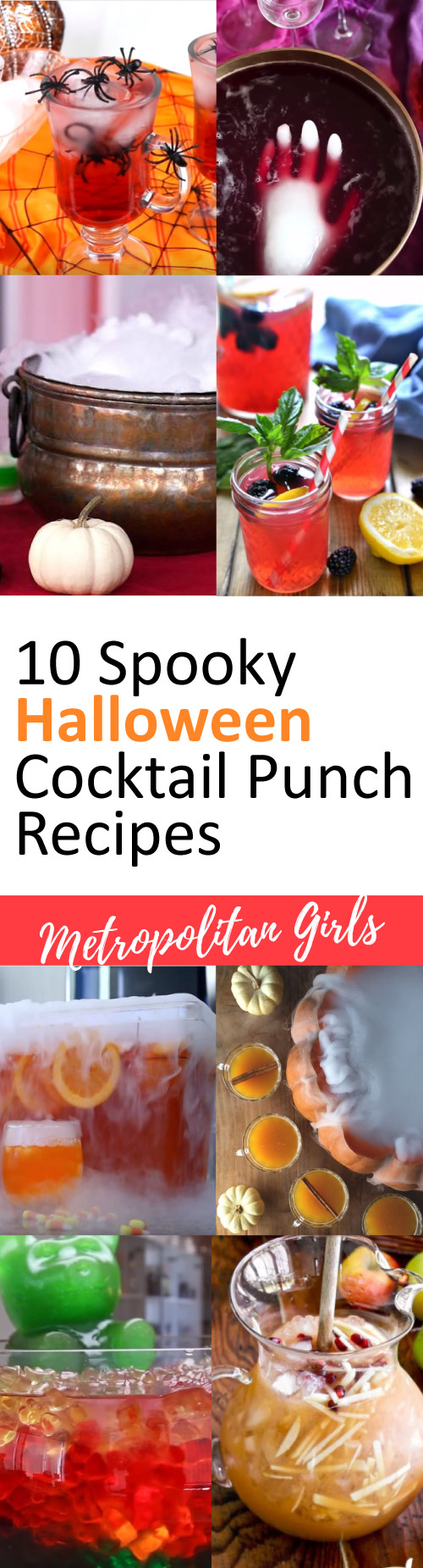 Spooky Halloween cocktail punch recipes for a crowd. Delicious party drinks.
