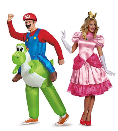 Mario Yoshi and Princess Peach costumes - halloween-couples-costumes