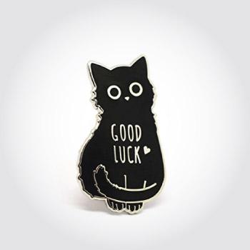good luck black cat lapel pin
