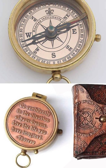 Inspirational engraved vintage compass with Thoreau quote Go Confidently
