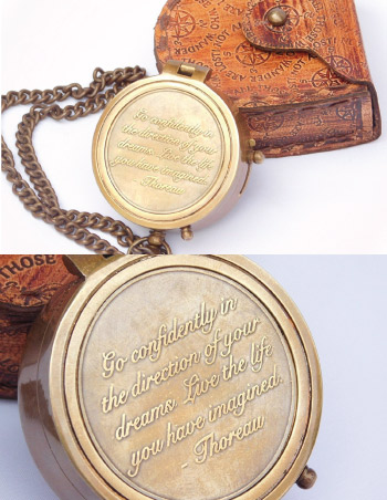 Inspirational vintage compass with Thoreau quote