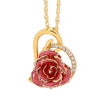 Eternity rose gold-dipped real rose heart pendant necklace