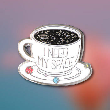 i need my space coffee cup lapel pin - simple fun and cheap valentines day gift idea