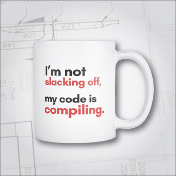 Mug for software engineer, coder, programmers. Joke.