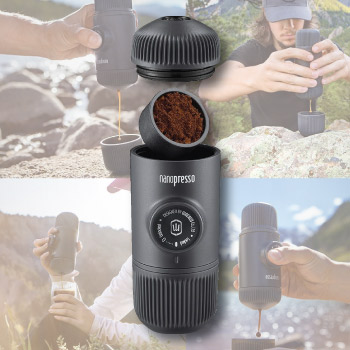 Portable coffee espresso maker. Great gift for coffee lovers.