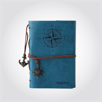 Leather cover vintage inspired notebook with nautical accents