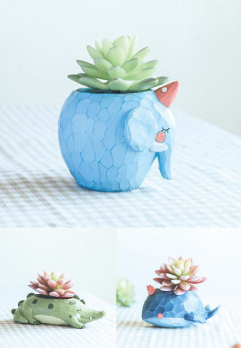 Cute pastel color animal mini flower pot.