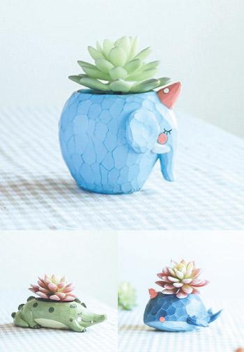 Cute pastel color animal mini flower pot.