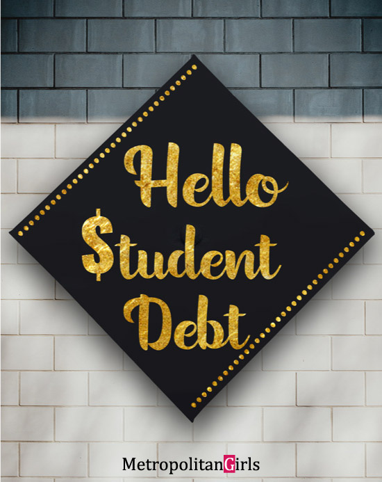 Funny graduation cap decoration idea student debt #diy