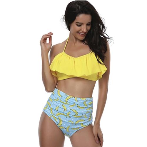 Yellow Banana High Waisted Swimsuit