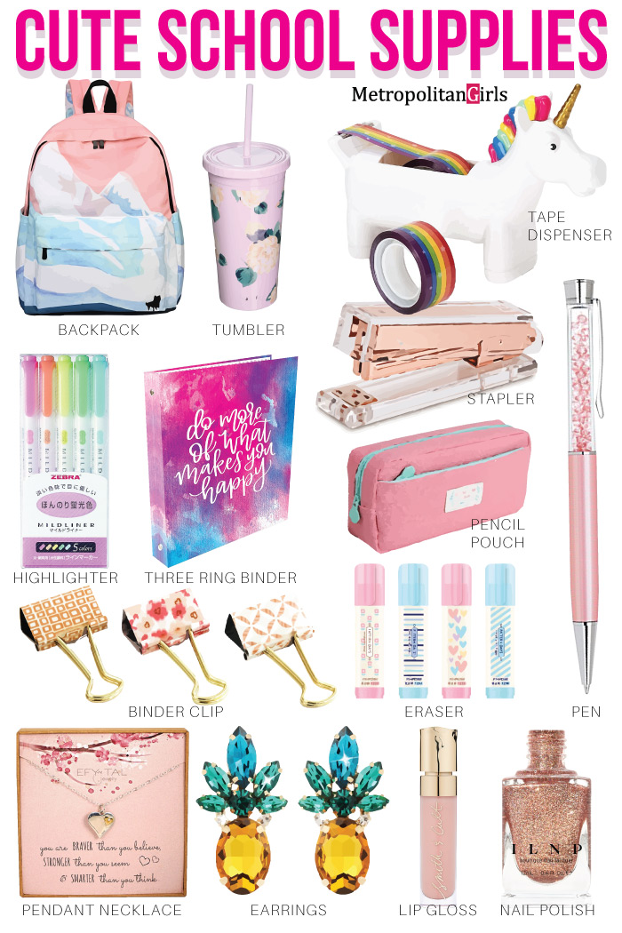 Cute Back to School Supplies for Highschool Teen Girls