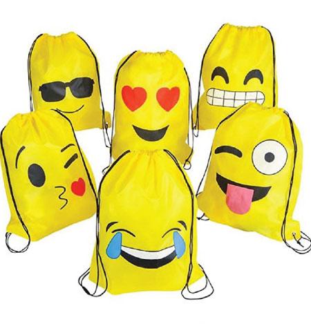 20 Emoji Back to School Supplies. Emoji drawstring backpack.