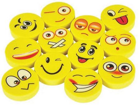 20 Emoji Back to School Supplies. Emoji erasers.