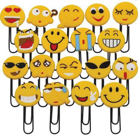 20 Emoji Back to School Supplies. Emoji paperclips.