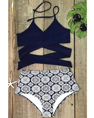 Front Cross High-waisted Halter Bikini Set