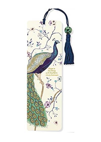 Peacock bookmark. Unique minimalist back to school supplies idea for college and high school.