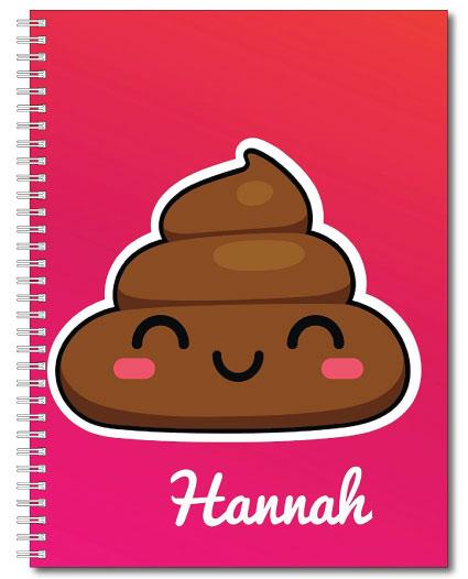 20 Emoji Back to School Supplies. Poop emoji notebook.
